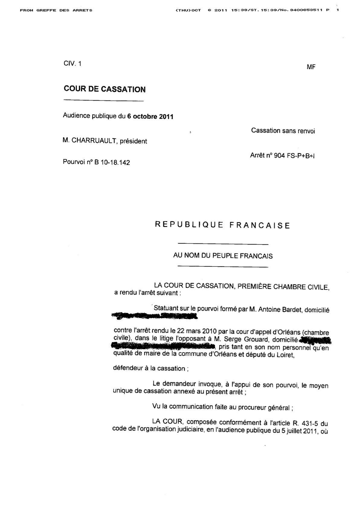cour de cassation grouard contre fansolo - orleans